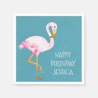 Watercolor Pink Flamingo Birthday Disposable Serviette