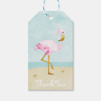 Watercolor Pink Flamingo on the Beach