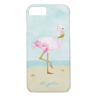 Watercolor Pink Flamingo on the Beach iPhone 7 Case