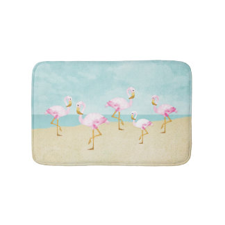 Watercolor Pink Flamingos on the Beach Bath Mat