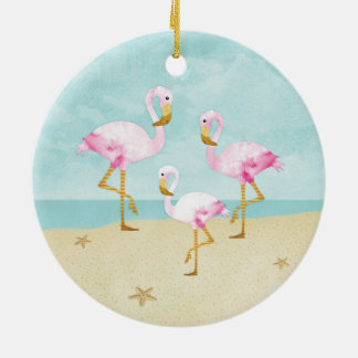 Watercolor Pink Flamingos on the Beach Christmas Ornament