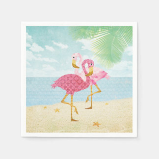 Watercolor Pink Flamingos on the Beach Disposable Serviette