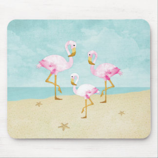 Watercolor Pink Flamingos on the Beach Mouse Mat
