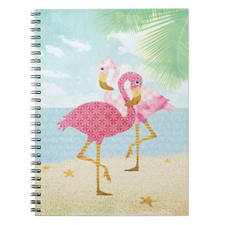 Watercolor Pink Flamingos on the Beach Notebooks