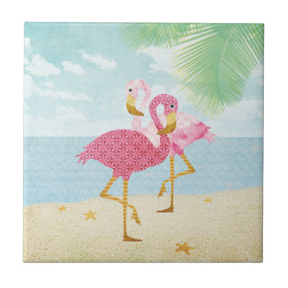 Watercolor Pink Flamingos on the Beach Small Square Tile