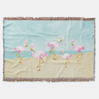 Watercolor Pink Flamingos on the Beach Throw Blanket