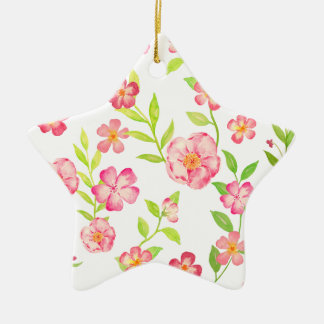 Watercolor pink floral pattern ceramic star decoration