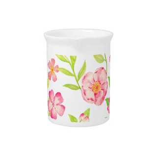 Watercolor pink floral pattern pitcher