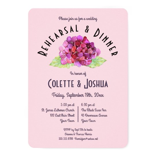 Watercolor Pink Floral Rehearsal Dinner Invitation