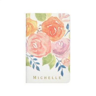 Watercolor Pink Floral with Gold Name Journal