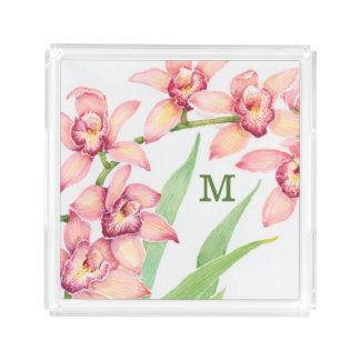 Watercolor Pink Flowers Acrylic Tray