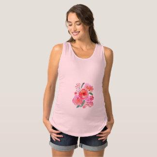 Watercolor Pink Flowers Maternity Tank Top
