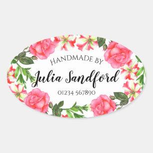Watercolor Pink Flowers Oval Wreath Design Oval Sticker