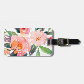 Watercolor Pink Flowers Personalized Luggage Tag