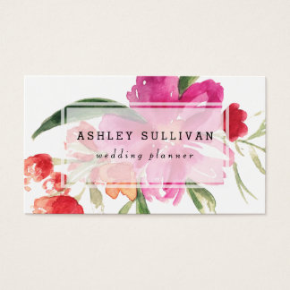 Watercolor Pink Flowers Posy Floral Business Card