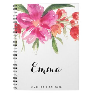 Watercolor Pink Flowers Posy Personalised Notebook