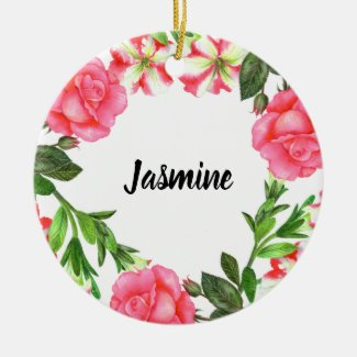 Watercolor Pink Flowers Wreath Circle Christmas Ornament