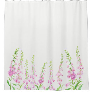 Watercolor Pink Foxgloves Shower Curtain