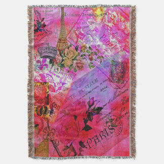 Watercolor Pink French Carte Postal Blanket Throw