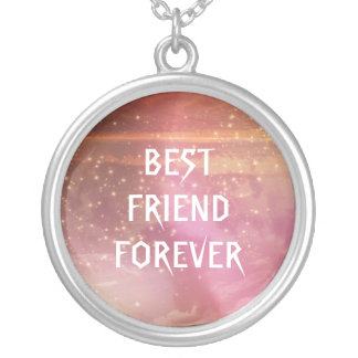 Watercolor Pink Glitter Best Friends Forever Round Pendant Necklace