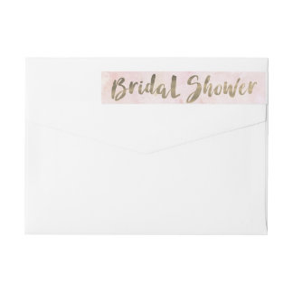 Watercolor Pink Gold Bridal Shower Wraparound Return Address Label