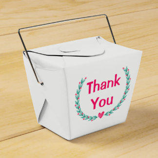 Watercolor Pink Green Floral Leaves Wreath Favour Box