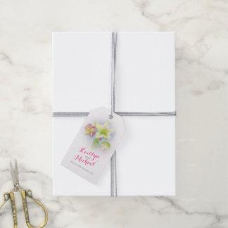 Watercolor pink green hellebores wedding gift tag