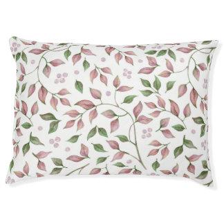 Watercolor Pink Green Leaves Berries Greenery | Pet Bed