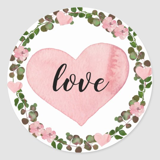 Watercolor Pink Heart and Eucalyptus Greenery Love Classic Round Sticker