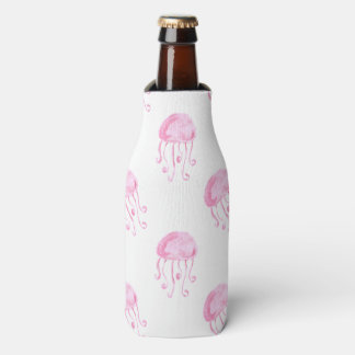 watercolor pink jellyfish beach design bottle cooler