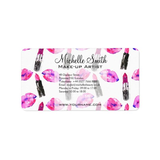 Watercolor pink lips lipstick  pattern makeup address label