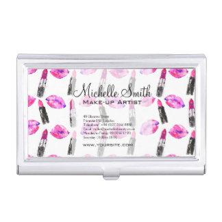 Watercolor pink lips lipstick  pattern makeup business card case