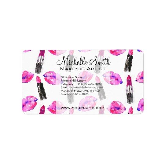 Watercolor pink lips lipstick  pattern makeup label
