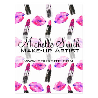 Watercolor pink lips lipstick  pattern makeup postcard