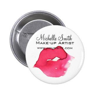 Watercolor pink lips makeup branding 6 cm round badge