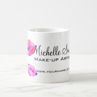 Watercolor pink lips makeup branding coffee mug