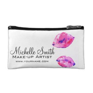 Watercolor pink lips makeup branding cosmetic bag