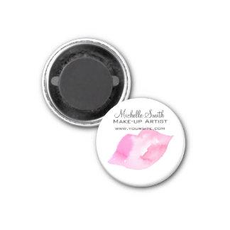 Watercolor pink lips makeup branding magnet