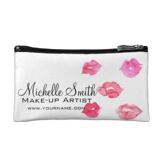 Watercolor pink lips makeup branding makeup bag