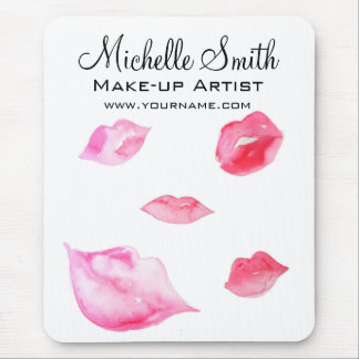 Watercolor pink lips makeup branding mouse pad