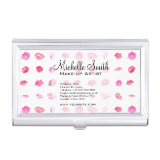Watercolor pink lips pattern makeup branding business card cases