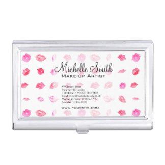 Watercolor pink lips pattern makeup branding business card holder