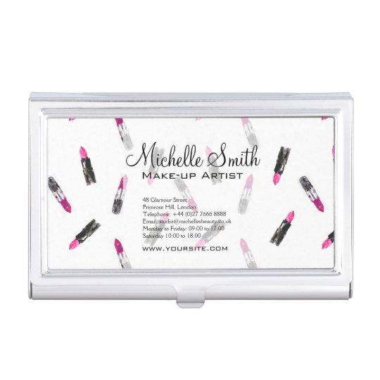 Watercolor pink lipstick pattern makeup branding business card holder