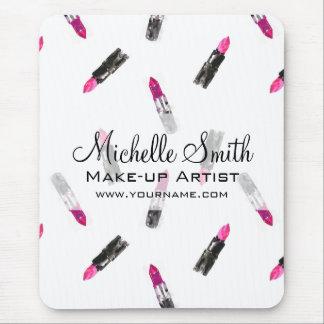 Watercolor pink lipstick pattern makeup branding mouse pad