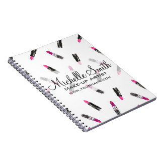 Watercolor pink lipstick pattern makeup branding notebook