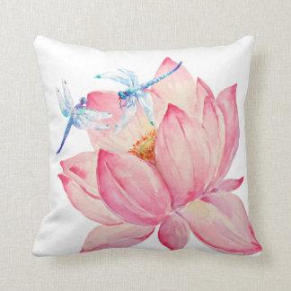 Watercolor Pink Lotus & Dragon fly Cushion