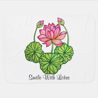 Watercolor Pink Lotus with Buds & Leaves Baby Blanket