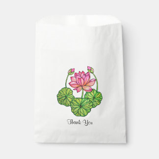 Watercolor Pink Lotus with Buds & Leaves Favour Bags