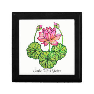 Watercolor Pink Lotus with Buds & Leaves Gift Box