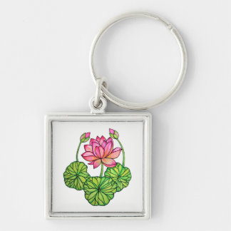 Watercolor Pink Lotus with Buds & Leaves Key Ring